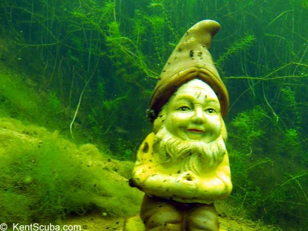 One of the knomes in Leybourne Lakes when diving with Kent Scuba